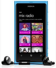 Mix Radio app on the Nokia Lumia 800.
