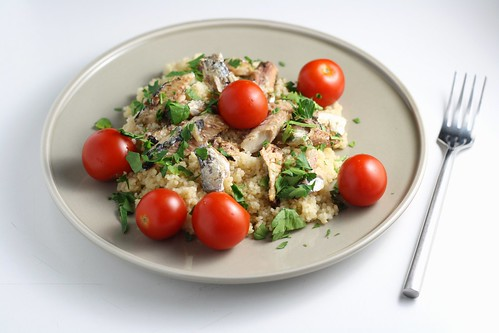 Whole Wheat Couscous with Sardines and Tomatoes