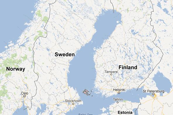 Localización de las islas Åland (también escritas Aaland)