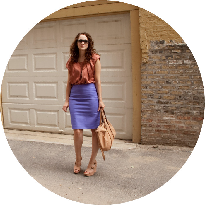 colorblock'd, dash dot dotty, j.crew no. 2 pencil skirt marrakesh purple, double serge cotton, ootd, purple dinosaur skirt, purple and rust, strange color combinations, outfit ideas, workfit, vera wang wedges
