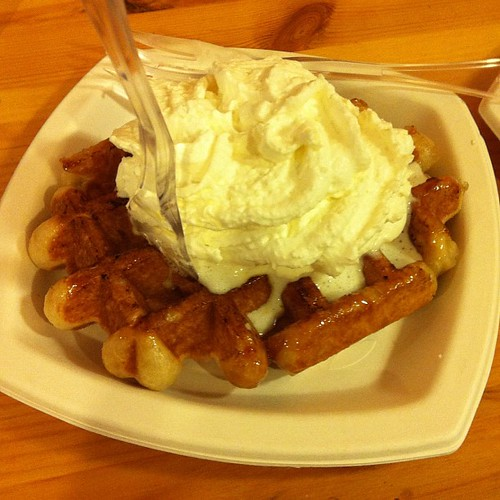 Liège waffle with whipped cream.