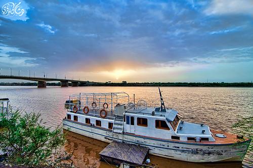 sunrise boat sudan nile khartoum hishamkarouri manshiabridge
