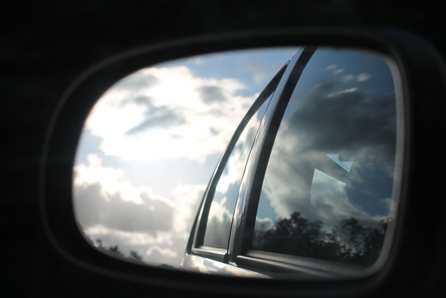 Car mirror reflection   Whilst sitting as a passenger on