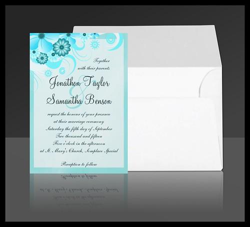 Aqua Blue Floral Hibiscus Wedding Invitation Suite