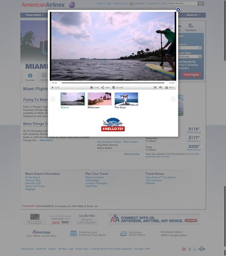 Video player Miami destination page on the American Airlines website