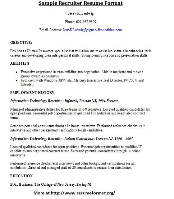 Sample Recruiter Resume Format | Flickr - Photo Sharing!