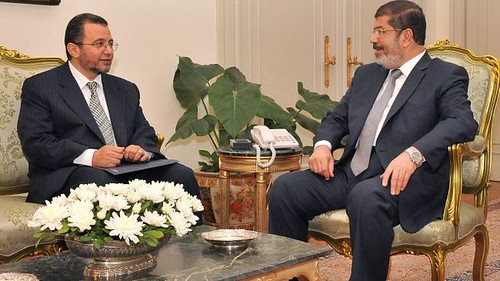 Egyptian Prime Minister Hisham Qandi, left, with President Mohamed Morsi. They are working on appointing a new cabinet in the North African state. by Pan-African News Wire File Photos