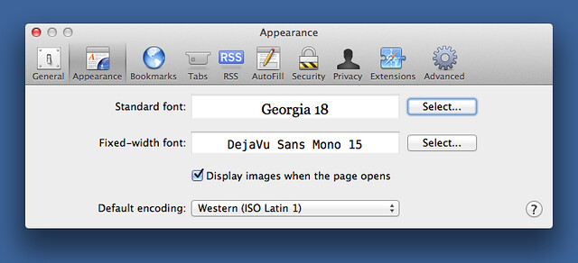 Safari 5 Appearance preference pane
