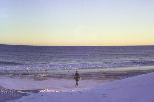 winter sunset sea snow love film beach yellow 35mm purple shore montauk