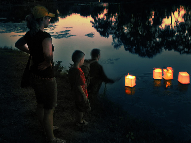 Family Launching their Lanterns for Peace