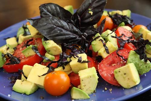 Tomato Salad with Avocado and Opal Basil