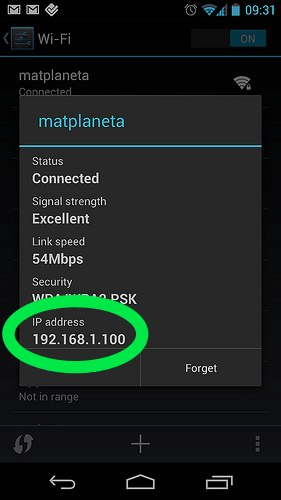 Your IP address on an Android phone