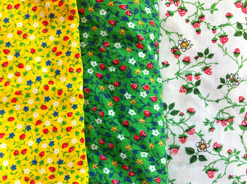 my three strawberry fabrics for the sundress