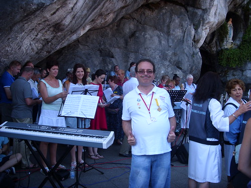 Maestro Giovanni, raring to go at the Grotto Mass