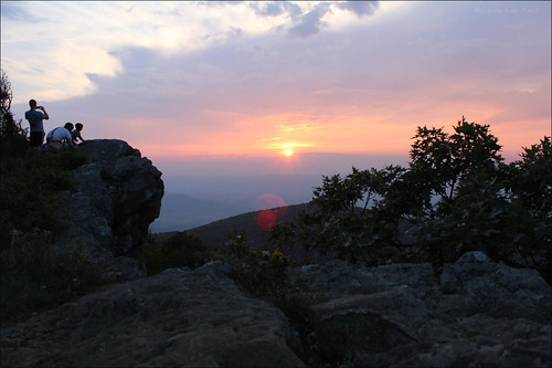 Climbing Hawksbill Mountain at sunset