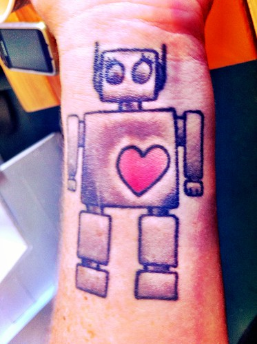Life: Robot Heart Tattoo Spotted at The Surf House, Carolina Beach, NC by Sanctuary-Studio