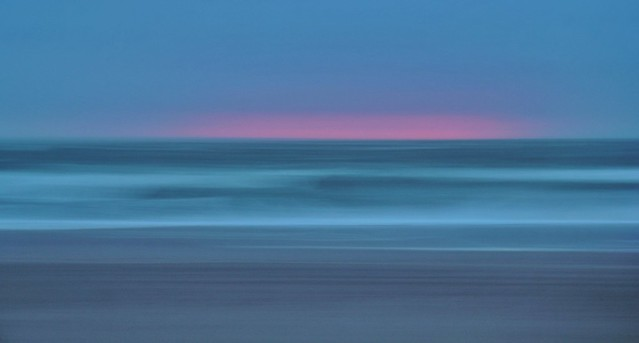 Panning the sea at sunset