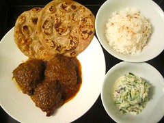 Chicken Curry, Roti, Raita & Rice    @ Home by Hans susser