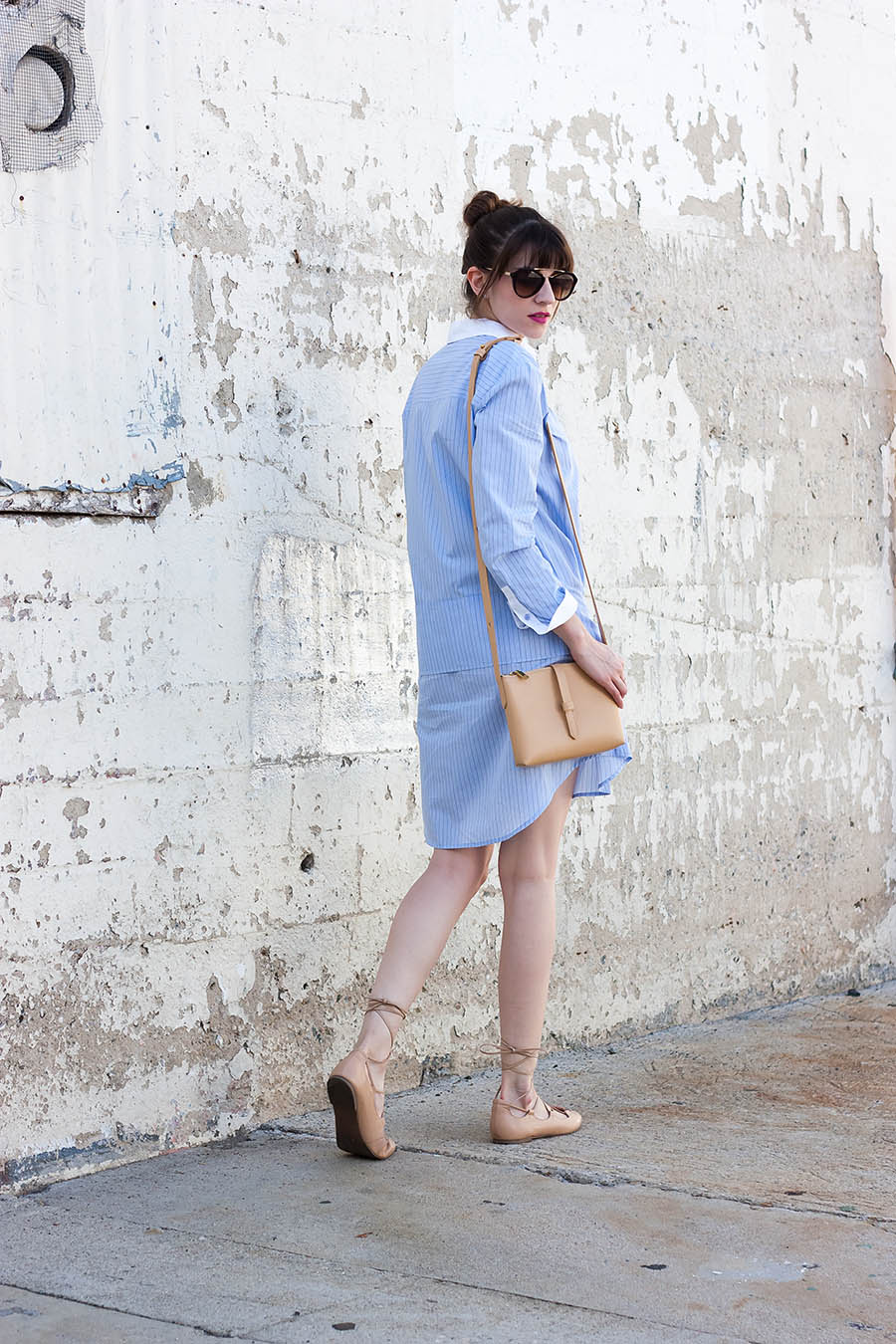 Vince Tie Waist Shirtdress, J.Crew Crossbody Bag, Summer Outfit