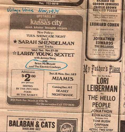 Max's Kansas City ad (Village Voice Nov. 1974)