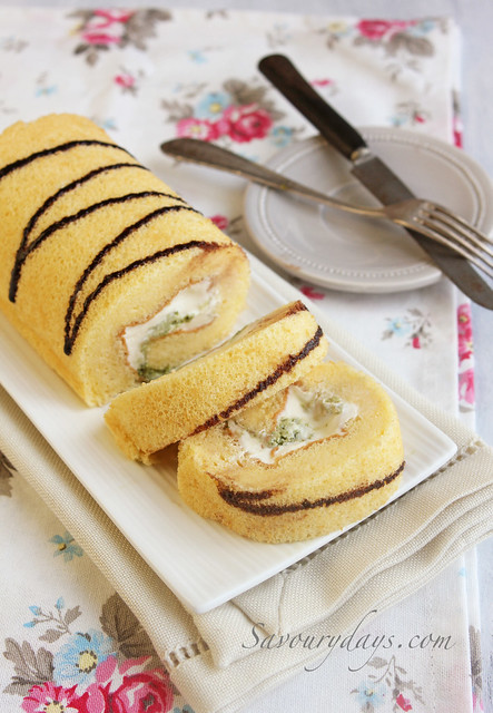 Cake roll with matcha cream filling