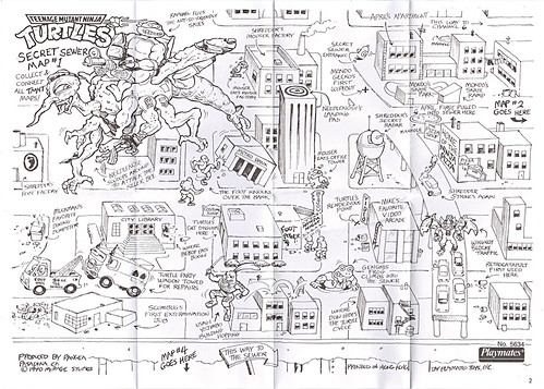 """MEGA MUTANTS"" TEENAGE MUTANT NINJA TURTLES :: NEEDLENOSE / SECRET SEWER MAP #1 (( 1990 ))"