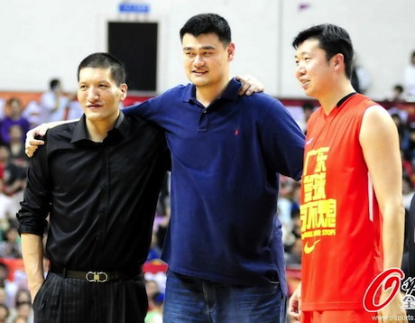 April 6th, 2012 - Yao Ming is reunited with Mengke Batter and Wang ZhiZhi at Du Feng's retirement announcement and exhibition basketball game
