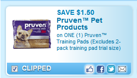 Pruven Training Pads (excludes 2-pack Training Pad Trial Size)  Coupon