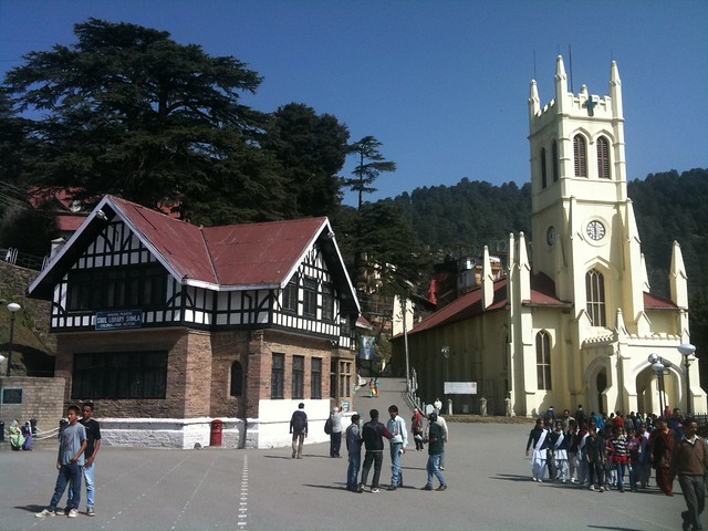 Christ Church and the state library, Shimla