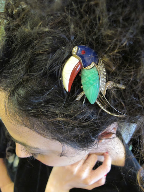 Wear a brooch in your hair! Parrot brooch from Granny's Day Out.
