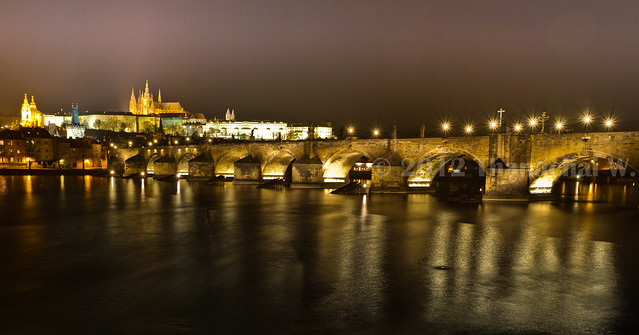 Prague Castle & Charles Bridge Night View