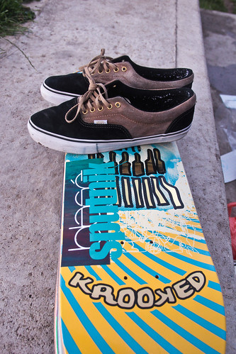 Stack of boards and Vans