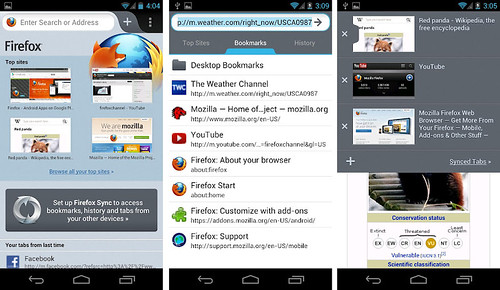 Screenshot Firefox 14 untuk Android