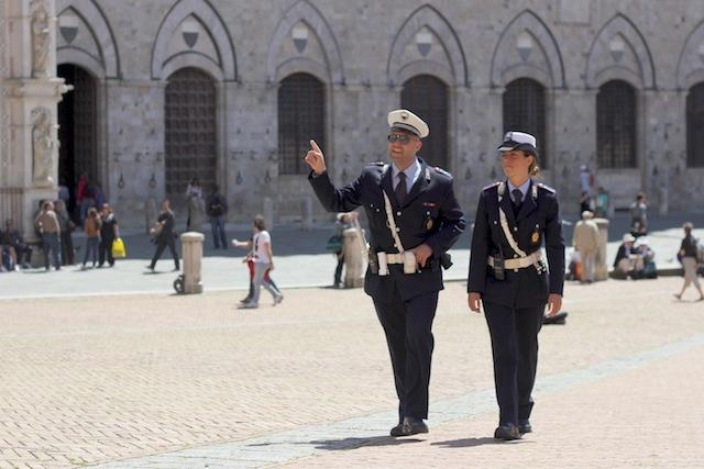 Italian police in Siena