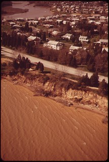 Aerial View Of Potomac Shoreline In Mt. Vernon Area Discoloration Of The River Is A Result Of Soil Erosion And Siltation, April 1973