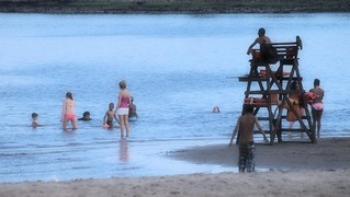 Image of Orchard Beach near Village of Pelham Manor. newyork beach water bronx tide low lifeguard orchard