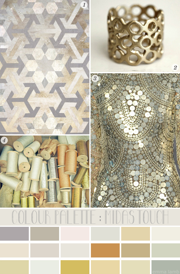colour palette : midas touch, curated by Emma Lamb / Image credits: 1. Nancy Straughan Printed Textiles , 2. Sunday Owl, 3. Naeem Khan, 4. Lola's Room