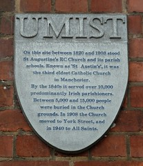 Photo of St Augustine's, Manchester and UMIST grey plaque