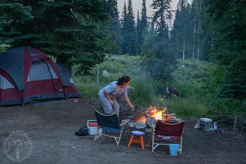 camping fire jessica tent idaho wright