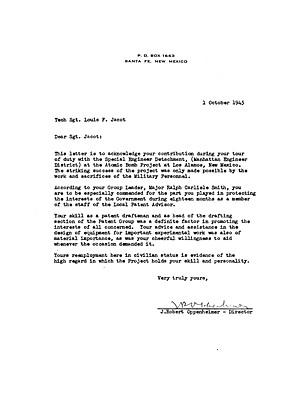 Oppenheimer to Jacot October 1 1945