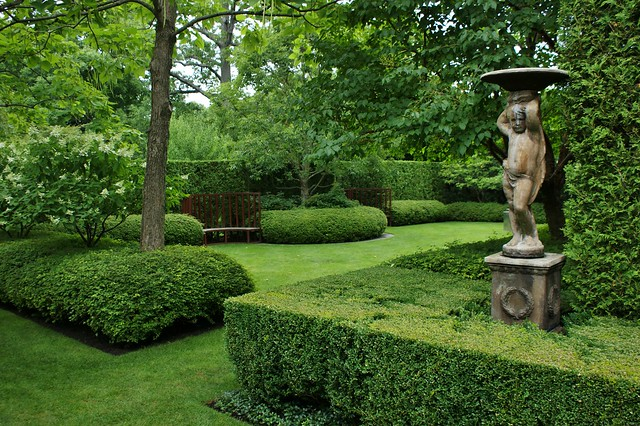 Formal Hedges Classical Garden Art Curved Benches And He