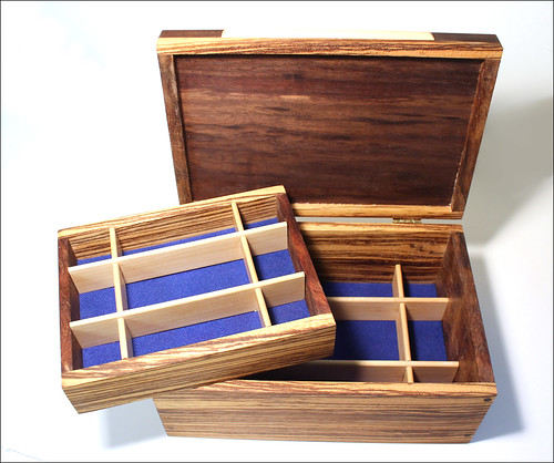 Zebrawood Bubinga Walnut Jewelry Box