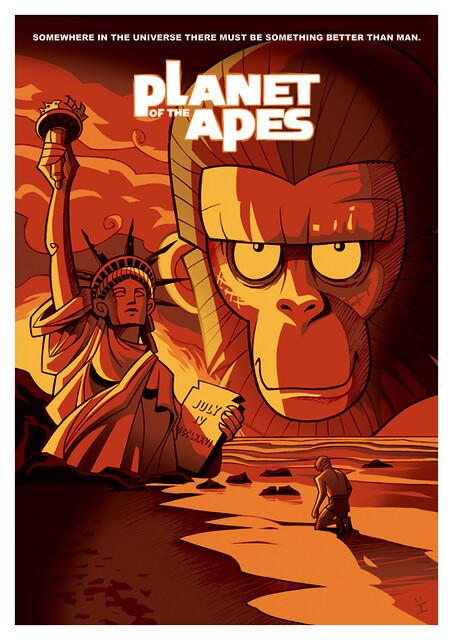 Posters de Filmes em animações planeta dos macacos