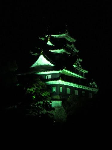castle japan night eastgate okayama donjon higashimon tenshu