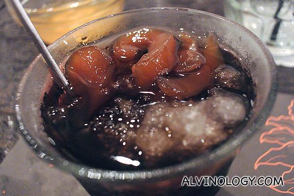 Honey sea coconut in grass jelly for dessert