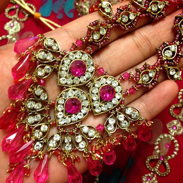 #necklace #gems #pink #gold