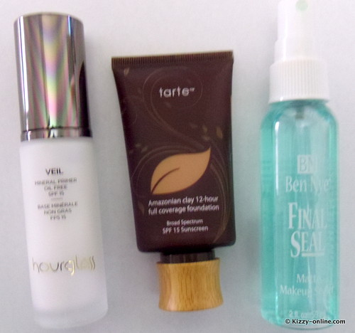 Hourglass primer mineral veil Ben Nye Final Seal Setting Spray Amazonian Clay Tarte Full Coverage Foundation