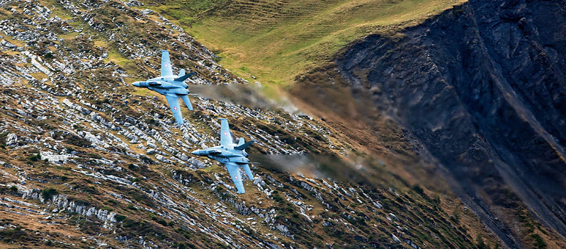 Two Swiss Airforce F/A-18C Hornets in the valley