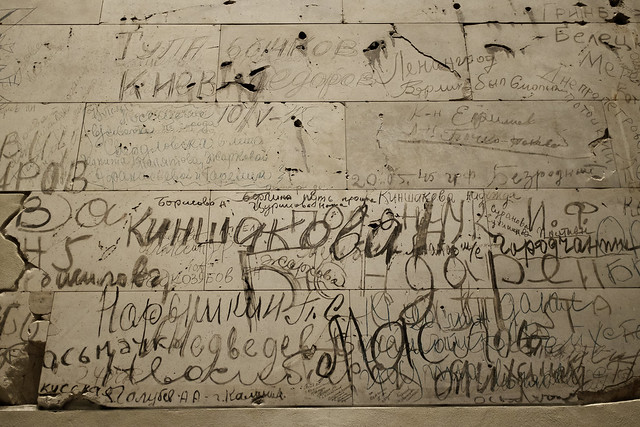 Preserved Russian Graffiti in the Reichstag, Berlin, Germany