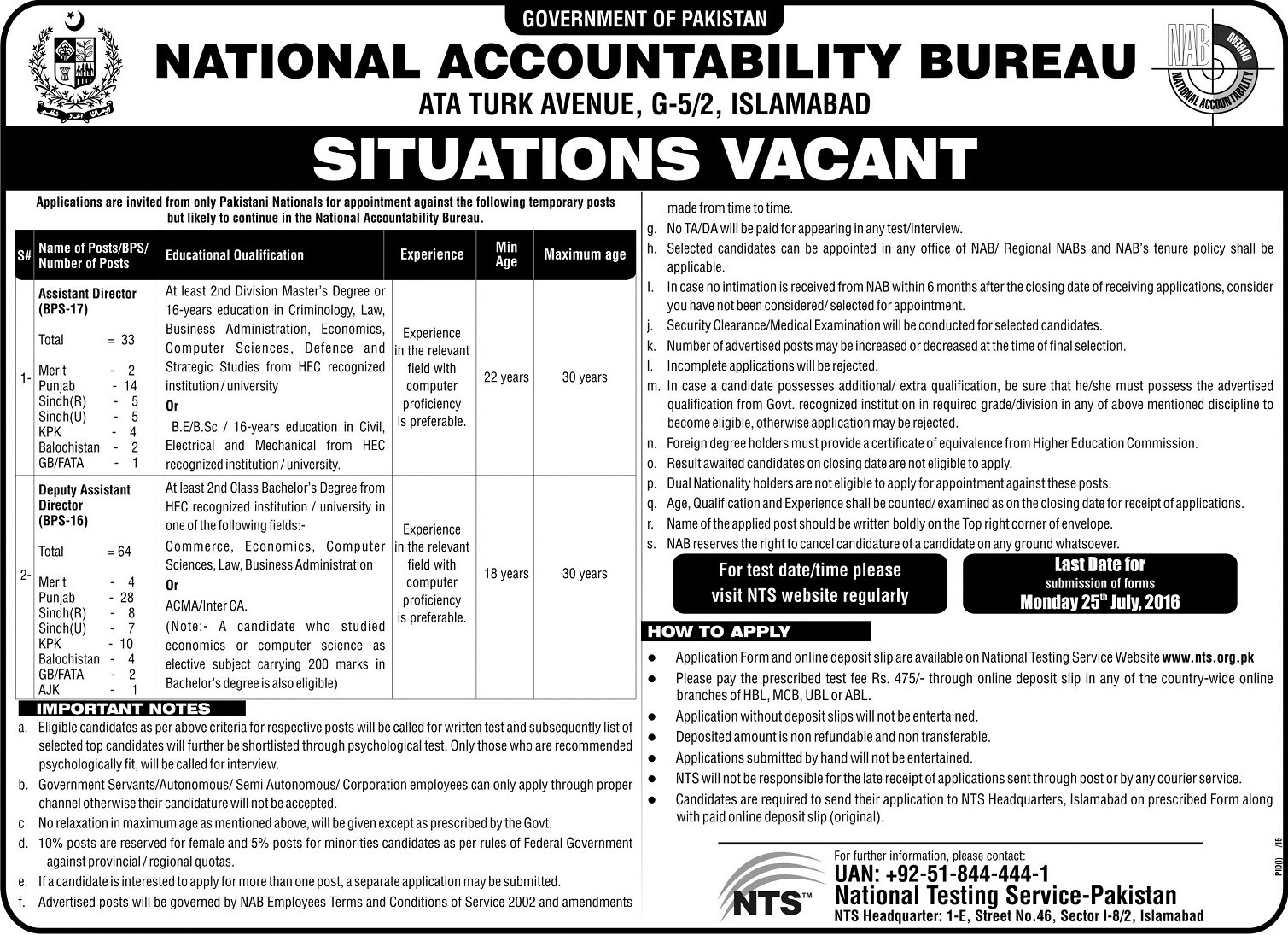 National Accountability Bureau Jobs Assistant Director and Deputy Assistant Director